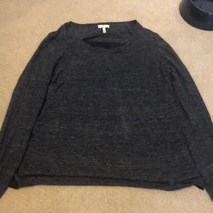 Light weight sweater with silk back